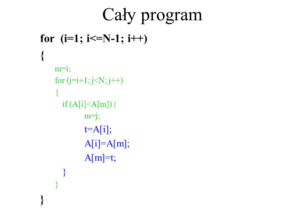 Cały program for (i=1; i<=N-1; i++) { A[i]=A[m]; A[m]=t; } m=i;